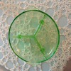 ANCHOR HOCKING GREEN DEPRESSION FOOTED CAKE PLATE/STAND CAMEO PATTERN
