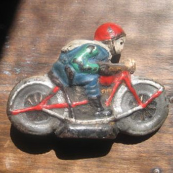 "Heavy Motorcycle with Rider 4"" long"