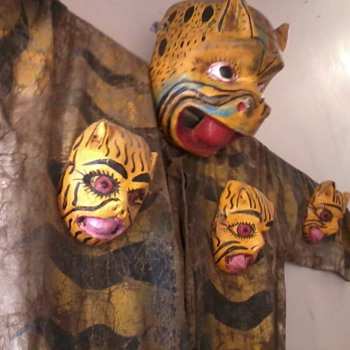 Oaxacan Jaguar Ceremony Costume, very old, Painted Canvas with Wooden Masks - Native American