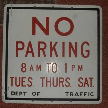 "1950s ""NO PARKING"" sign from New York City"