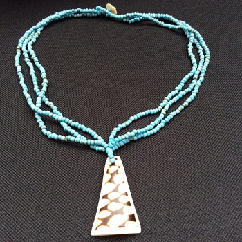 Vintage turquoise necklace and pendant - Fine Jewelry