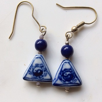 Vintage porcelain earrings  - Costume Jewelry