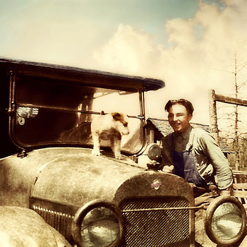 Old Family Photo Car,dog and a  motometer . Colorized by Phil !