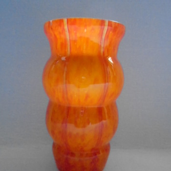 Welz Art Deco Vase.....Vertical Lines - Art Glass