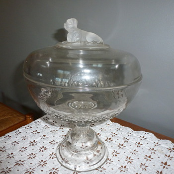 My vintage covered compote, pressed glass, with a dog figurine on the lid - Glassware