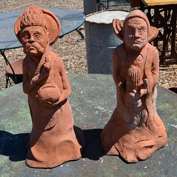 Bizarre Sculptures - Saint Figures Carrying a Toaster and a Cactus - Art Pottery