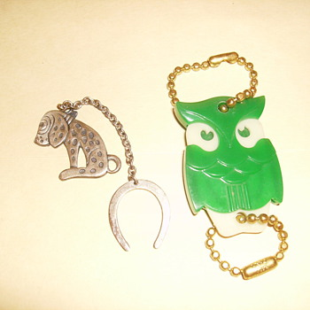 Glow in the Dark Owl Keychain &amp; Down In The Dumps Dirt Dog Lucky Keychain