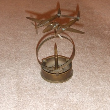Highly detailed trench art P-38 ashtray - Military and Wartime