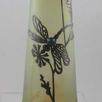 Poschinger Uranium Glass and Oil Spot vase with Silver Overlay and Cabachon,  ca. 1900
