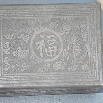 Antique Pewter Chinese Box,Dragon Design Chinese Writing - Asian