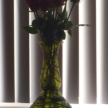 A Dozen Roses In My Kralik Threaded Vase - Art Glass