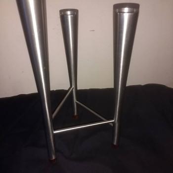 "Vintage retro Tripod stainless steel ""Hans Jenson"" Danish style candlesticks 50s thru to 70s."