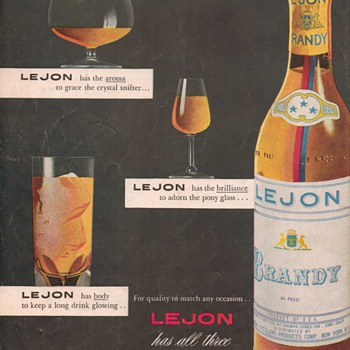 1950 Lejon Brandy Advertisement - Advertising