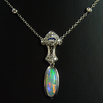 Art Deco 14k White Gold, Diamond, Sapphire & Opal Necklace - Art Deco