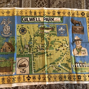 Gilwell Park Map Printed on Irish Linen from '40s or '50s