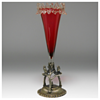 """Victorian """"Stevens&William"""" Cranberry Glass Epergne and a Silver-plate-mount, Late 1800"""