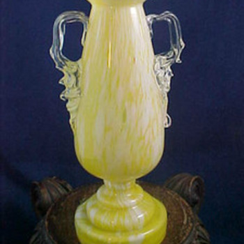 Antonin Ruckl & Sons Bohemian Yellow & White Variegated / Cottage Glass Trophy Vase - Common Misspelling: Ruckle