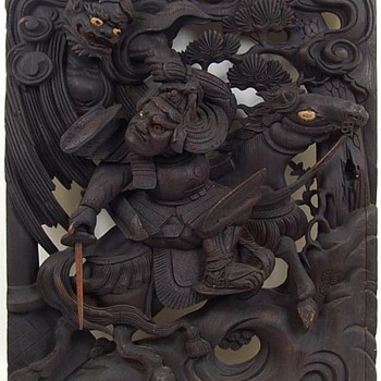 Large 18th c. Japanese Wood Carving of Watanabe no Tsuna - Asian