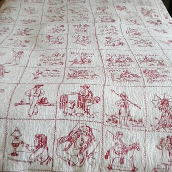 RedWork Quilt c1900's - Rugs and Textiles