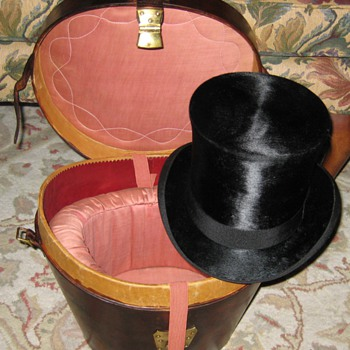 Antique Silk Top Hat and Leather Case - Hats