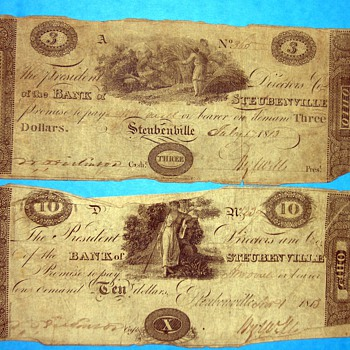 1813 Bank of Steubenville $10 Ten Dollar Note, serial number is written by hand, believe the bills and paper are original - US Paper Money