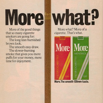 1976 - More Cigarettes Advertisement