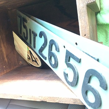 Vintage License plate with Letters and Numbers Bolted on