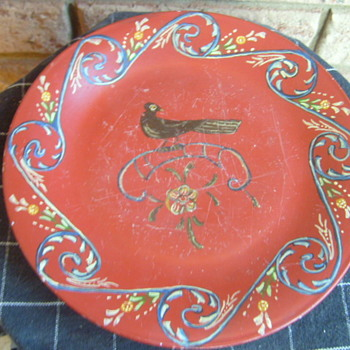 Redware ?? old plate with blackbird hand painted.