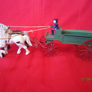 Original Early 1900's Kenton Made in USA Antique Cast Iron Horse Drawn Metal Carriage w/ Coachman