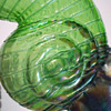 Kralik Green Iridescent Shell Vase w Blue Threading
