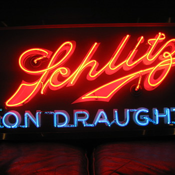 Neat old Schlitz Neon over porcelane sign. - Signs