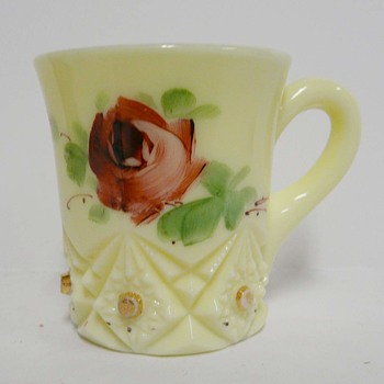 Pale Green 1913 Mississippi State Fair Glass Cup Hand Painted Rose  - Glassware