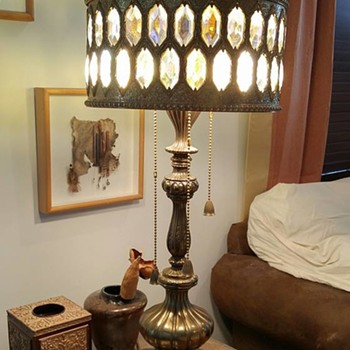 Our new to us Mid-Century Brass Lamp with crystal & brass lampshade