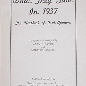 What They Said in 1937 - Books