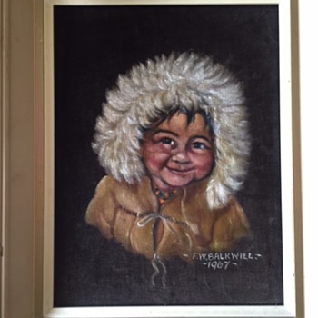 FW Balkwill painting on dark brown velvet - Visual Art