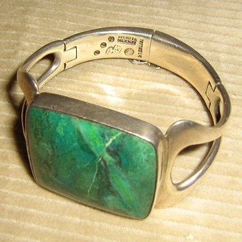 1960's Sigi Pineda azurite or chrysocolla sterling bracelet - Fine Jewelry