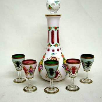 Bohemian cased white to cranberry/emerald decanter and cordials - Art Glass