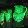 Kralik Czechoslovakia vaseline glass beverage set 