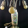 1920's Art Nouveau Table Lamp with Mazda Light Bulbs and German Lustreware Vase Body