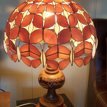 Pair of  Hawaiian Style Lamps Carved Koa with Seashell Butterfly Shades - Lamps