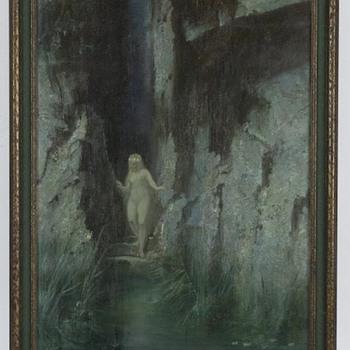 "Hermann Hendrich ""symbolist bathing nude"" 1900"