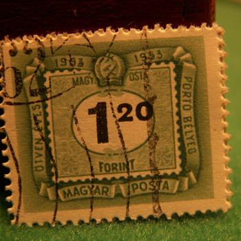 1953 Porto Belyeg Magyar Posta 1.20 Stamp ~ Hungary
