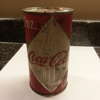 Coca cola can unopened from top 1960's