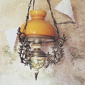 Antique hanging oil lamp