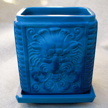 "Blue Malachite Glass Jar ""Lion Mask and Flower Basket"" - Art Glass"