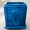 "Blue Malachite Glass Jar ""Lion Mask and Flower Basket"""