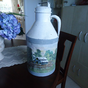 PAINTED ANTIQUE MILK CAN..