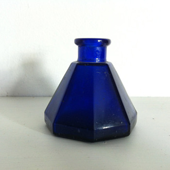 Cobalt blue umbrella ink bottle