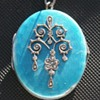 Blue Gilloche Enamel locket
