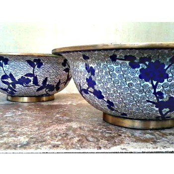 "Two  8 1/2""  Blue and White Cloisonne Bowls/Marked ""China"" Unknown Age - Asian"